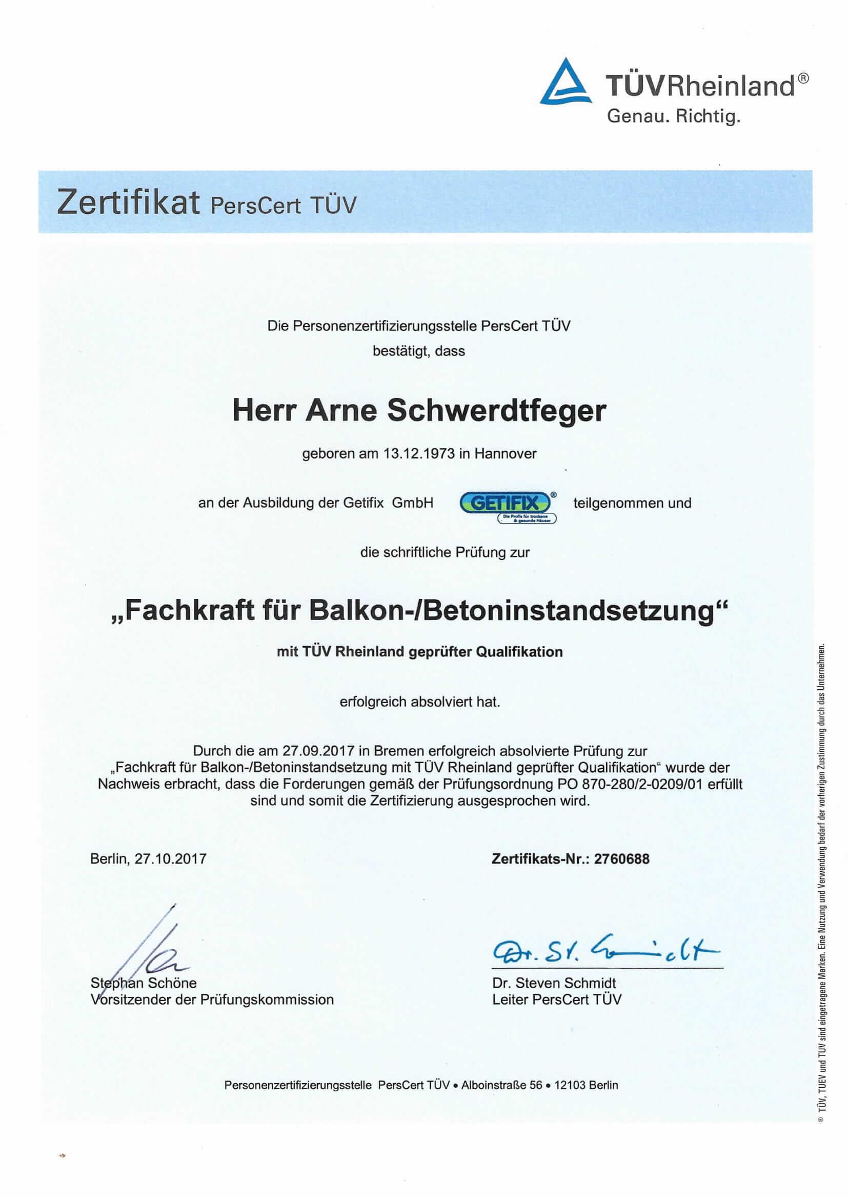 Fachkraft für Balkon-/Betoninstandsetzung Zertifikat
