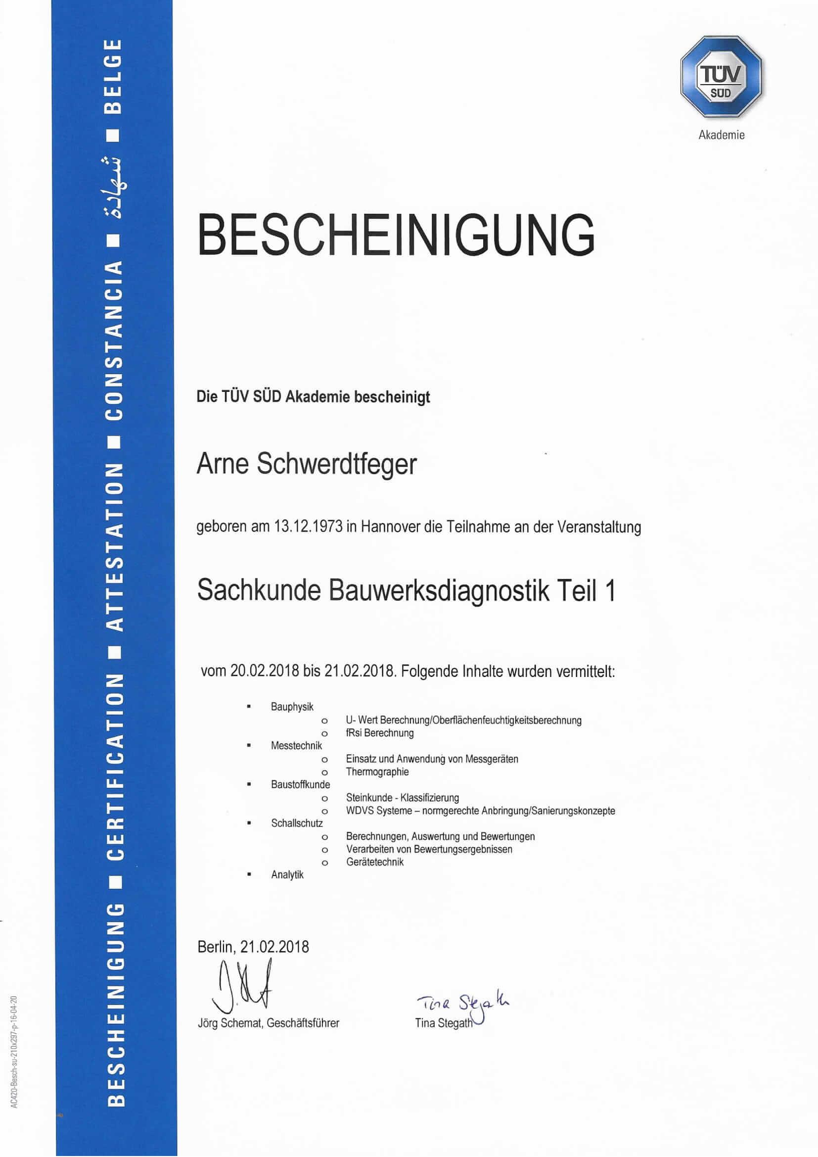 Sachkunde Bauwerksdiagnostik Zertifikat