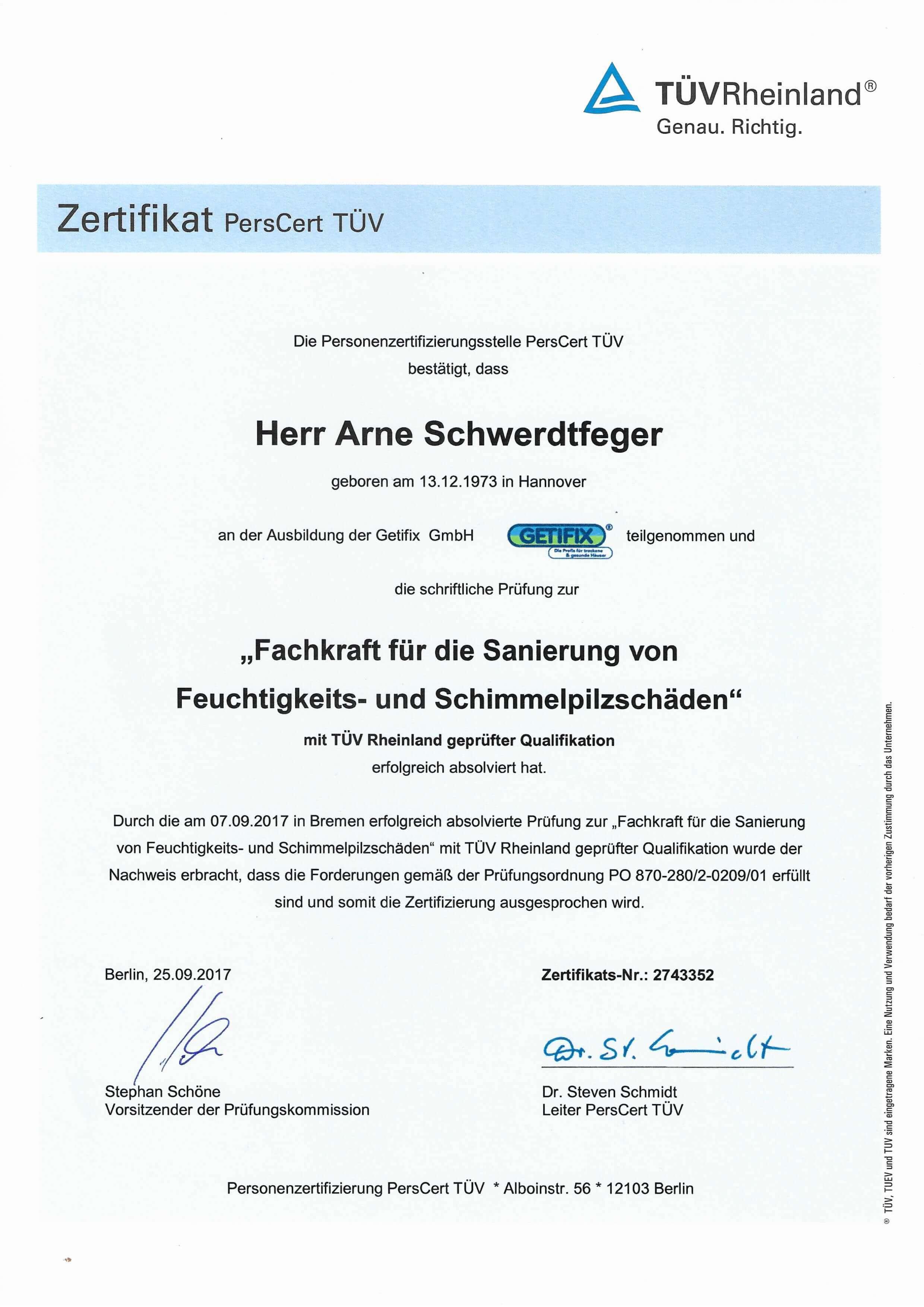 Fachkraft für Sanierung von Feuchtigkeits- und Schimmelpilzschäden Zertifikat